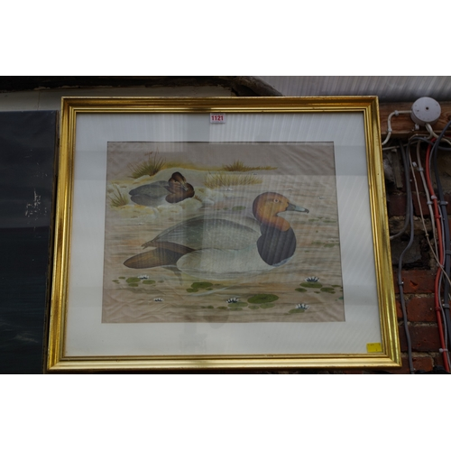 1121 - <strong>Chinese School,</strong> ducks, gouache on silk, 37 x 45cm. ...