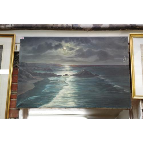 1122 - <strong>A Beardsley,</strong> a moonlit shoreline, signed, oil on canvas, 60.5 x 91.5cm, unframed.&n...