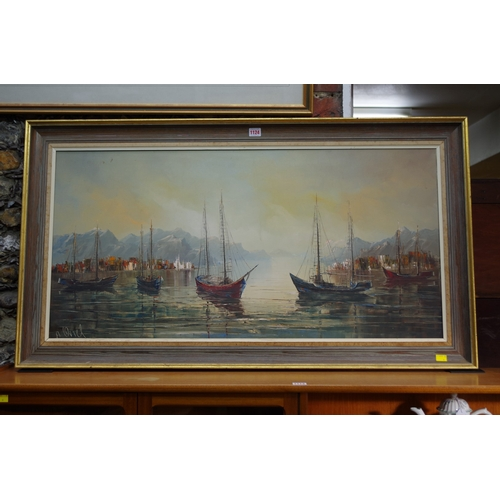 1124 - <strong>A Oriel,</strong> fishing boats in a natural harbour, signed, oil on canvas, 49.5 x 100.5cm....