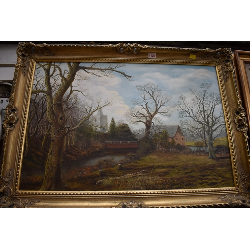 1126 - <strong>W Dawson,</strong>an English river scene with church beyond, signed, oil on canvas, 50...
