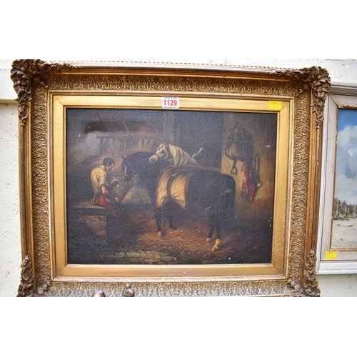 1129 - <strong>English School,</strong> horse in a stable, oil on canvas, 29 x 39.5cm; together with anothe...