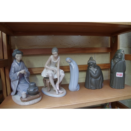 1133 - <strong>Four Lladro figures,</strong> largest 22cm; together with a Nao ballerina. ...