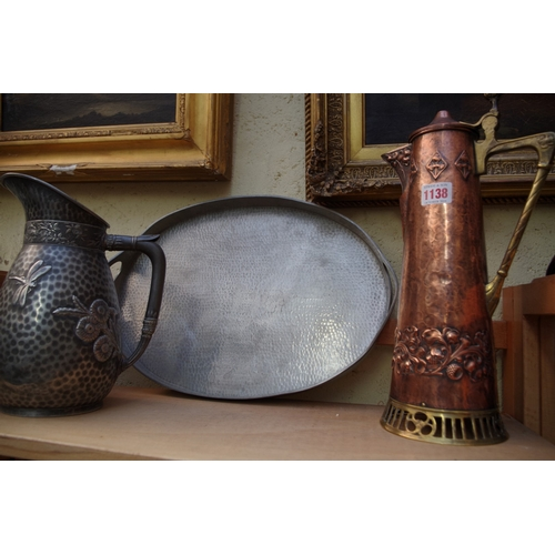 1138 - <strong>A Secessionist WMF copper and brass flagon,</strong>37cm high, (lacking finial to hing...