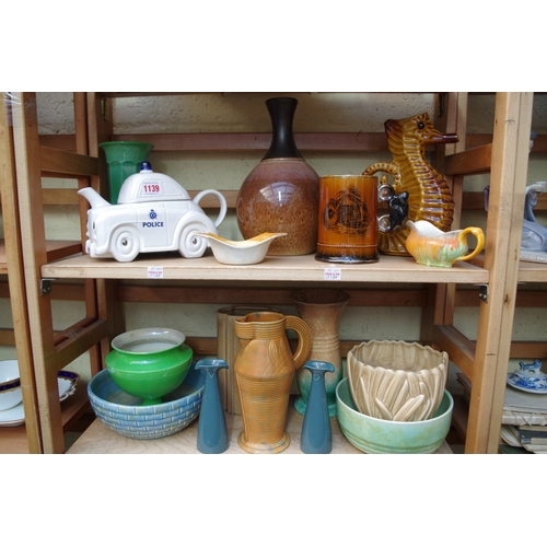 1139 - <strong>A mixed group of English pottery, </strong>to include a Carlton Ware novelty teapot and cove...
