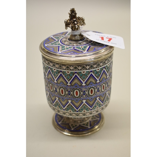 17 - <strong>A Russian silver gilt and cloisonne enamel jar and cover,</strong> by <em>Antip Ivanovich Ku...