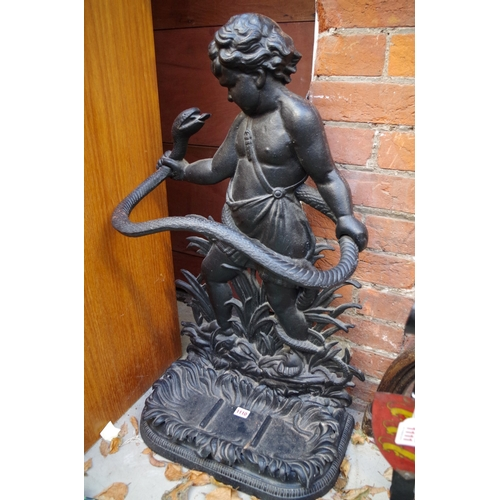 1111 - <strong>A cast iron Hercules and serpent stick stand, </strong>80.5cm high. ...