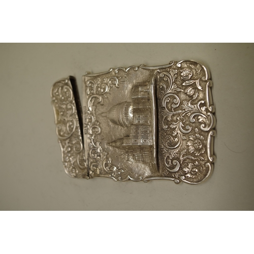 39 - <strong>A Victorian silverSt. Paul's Cathedral'castle top' card case,</strong>by<em>Nathaniel Mi...
