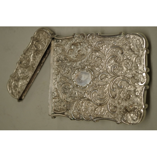 40 - <strong>A Victorian silver Windsor Castle 'castle top' card case,</strong>by <em>Nathaniel Mills, <...