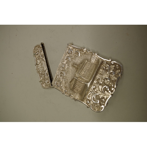 42 - <strong>A Victorian silverLondon Stock Exchange 'castle top'card case,</strong>by<em>Nathaniel M...