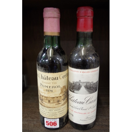 506 - <strong>A 36cl bottle of Chateau Canon 1975,</strong> Fournier; together with a 36cl bottle of Vieux...