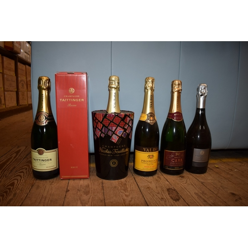 509 - <strong>A mixed lot of wine,</strong>to include a 75cl bottle of Taittinger champagne, in card...