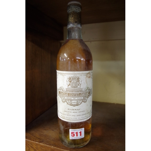 511 - <strong>A 75cl bottle of Chateau Coutet a Barsac 1980.</strong>...