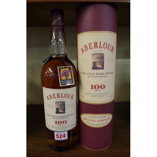 524 - <strong>A 1 litre bottle of Aberlour 100 Proof whisky 57.1% ABV, </strong>in card tube....