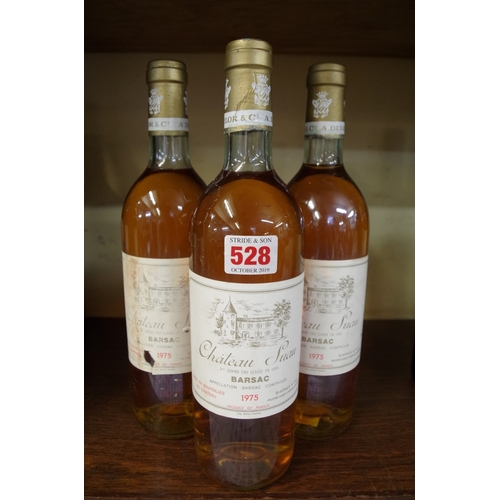 528 - <strong>Three 75cl bottles of Chateau Suau 1975,</strong> 2nd Barsac....