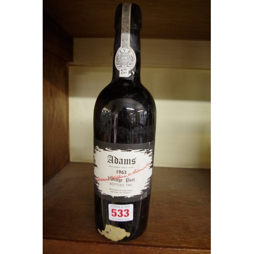 533 - <strong>A 75cl bottle of Adam's Vintage Port 1963.</strong>...