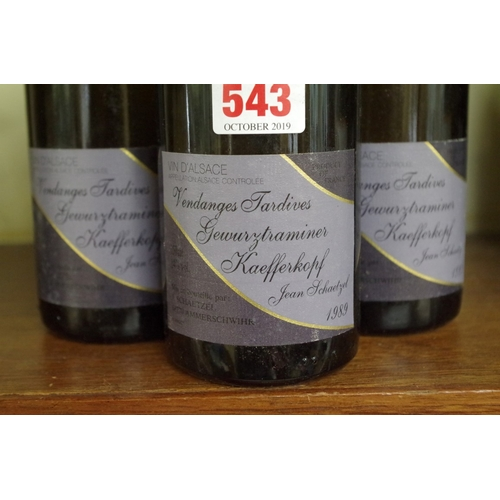 543 - <strong>Three 75cl bottles of Vendanges Tardives Gewurztraminer Kaefferkopf 1989,</strong> Jean Scha...