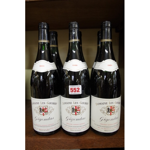 552 - <strong>Six 75cl bottles of Gigondas,</strong> 1986, Domaine Goubert. (6) <br /><strong>PLEASE NOTE:...