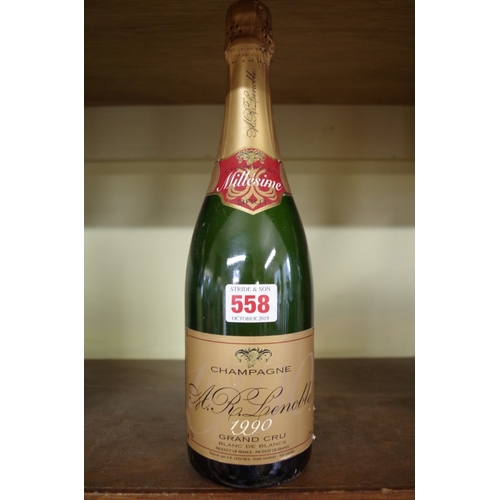 558 - <strong>A 75cl bottle of 1990 Lenoble Grand Cru Blanc de Blancs vintage champagne.</strong>...