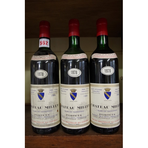 562 - <strong>Three 75cl bottlesof Chateau Millet 1978,</strong> Portets. (3)...