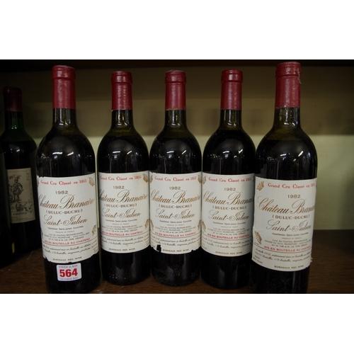 564 - <strong>Five 75cl bottles of Chateau Branaire (Duluc-Ducru) 1982,</strong>Saint-Julien. (5)...