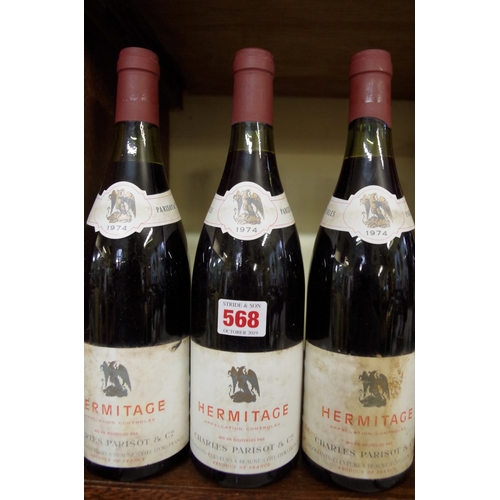 568 - <strong>Three 75cl bottles of Hermitage 1974,</strong> Parisot. (3)...