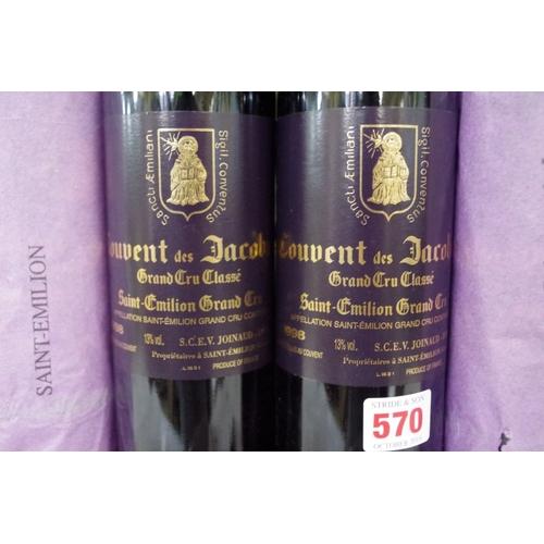 570 - <strong>Six 75cl bottles of Couvent des Jacobins1998,</strong> Grand Cru Classe St Emilion. (6)<br ...