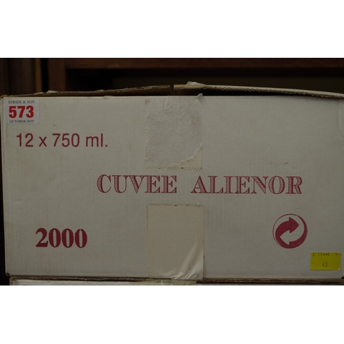 573 - <strong>A case of twelve 75cl bottles of Chateau Mayne-Vieil Cuvee Alienor2000,</strong> Fronsac, i...