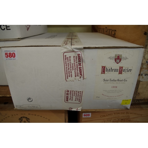 580 - <strong>A case of twelve 75cl bottles of Chateau Rozier,</strong> 1998, Grand Cru St Emilion, in oc....