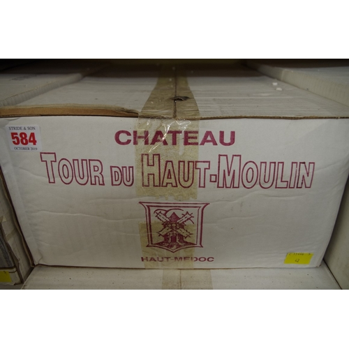 584 - <strong>A case of twelve 75cl bottles of Chateau Tour du Haut Moulin, </strong>2000, Cru Bourgeois H...