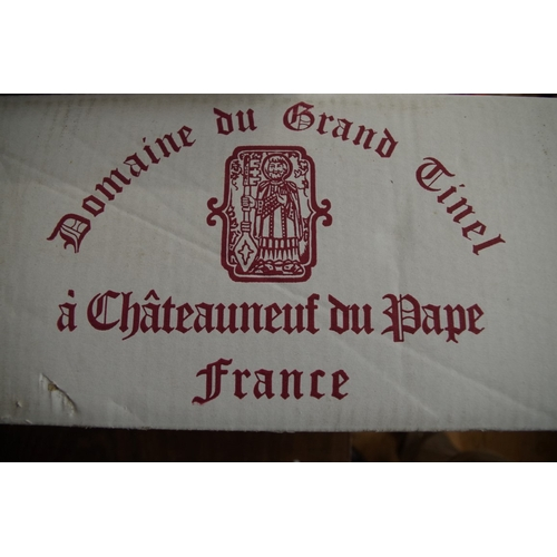585 - <strong>A case of twelve 75cl bottles of Chateau Neuf Du Pape Domaine Grand Tinel,</strong> 1998, in...