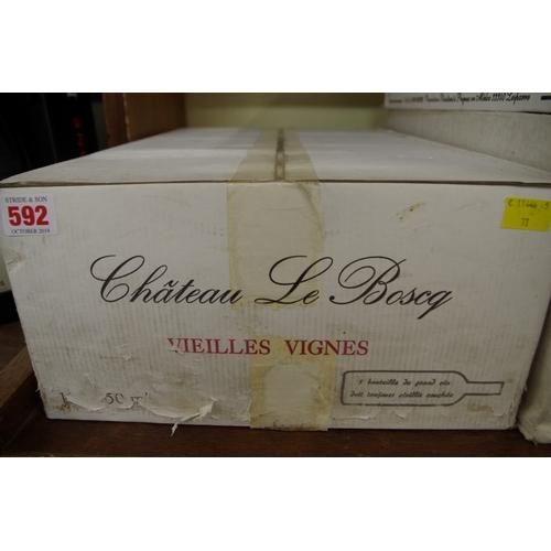 592 - <strong>A case of twelve 75cl bottles of Chateau Le Boscq Vielles Vignes,</strong> 1996, Cru Bourgeo...