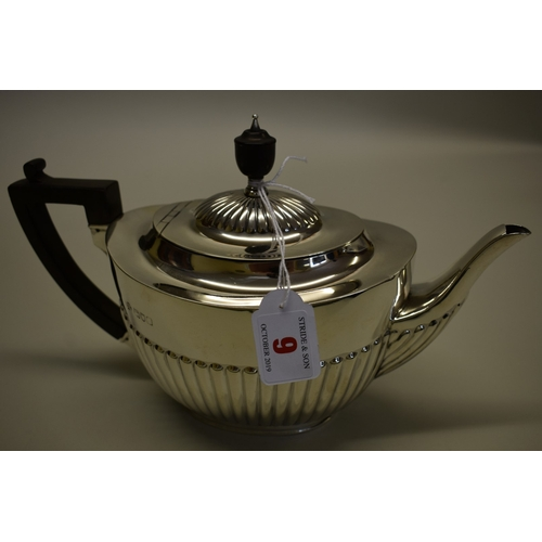 9 - <strong>An Edwardian silver teapot, </strong>by <em>William Hutton & Sons Ltd, </em>London 1903,...