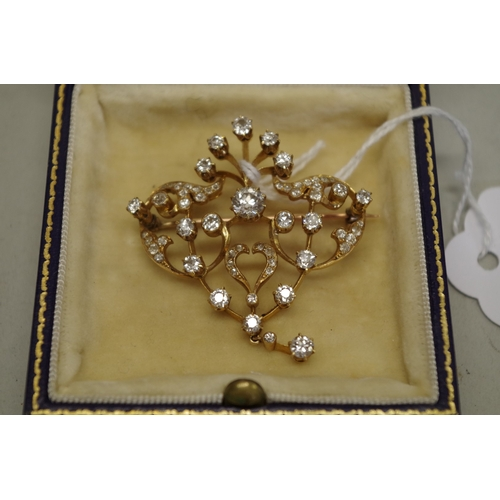 98 - <strong>A Belle Epoch diamond brooch,</strong> in an unmarked yellow metal mount, set approx. 2ct br...