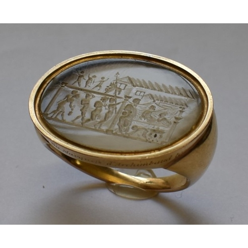 97 - <strong>An interesting and unusual carved chalcedony or rock crystal intaglio,</strong>possibly Rom...