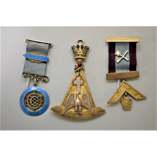 203 - <strong>A silver gilt and enamel Masonic jewel,</strong>by Spencer, London, 8.5cm high; together wi...
