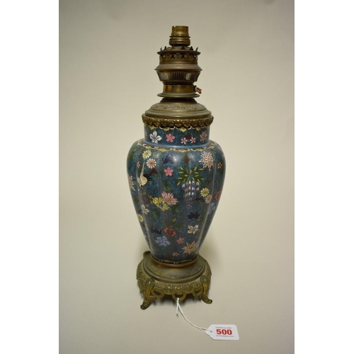 500 - <strong>A Chinese cloisonne enamel and brass mounted table lamp, </strong>of lobed vase form, total ...