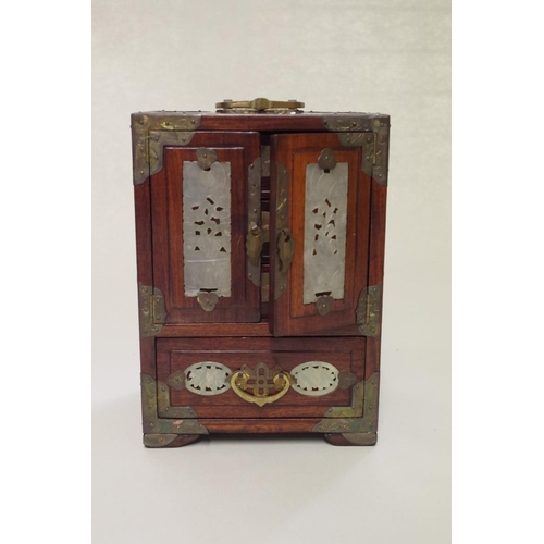 510A - <strong>A small Chinese hardwood and jade inset cabinet,</strong>height including handle 28cm....