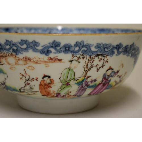 512 - <strong>A Chinese famille rose bowl,</strong> <em>Qing, </em>painted with panels of figures in garde...