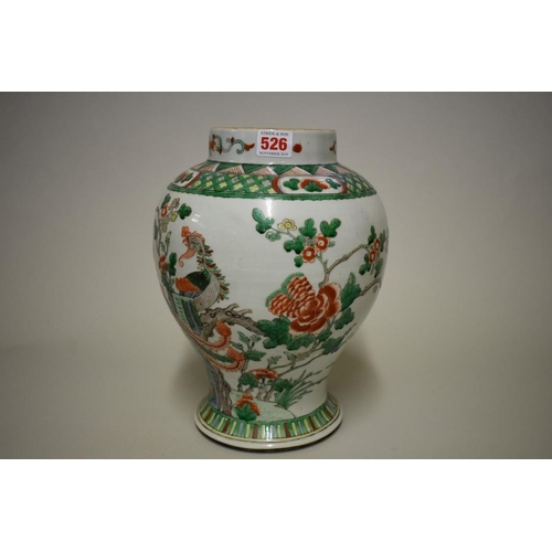 526 - <strong>A Chinese famille verte inverted baluster jar</strong>, <em>18th/19th century,</em> painted ...