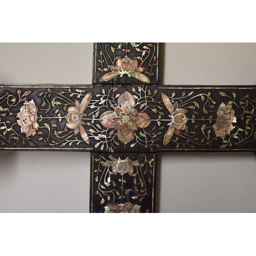 532 - <strong>A Chinese hardwood and mother-of-pearl inlaid cross,</strong><em>possibly Macau,...