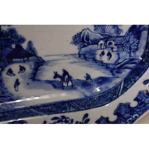 539 - <strong>A Chinese blue and white meat plate,</strong><em> late 18th century,</em> of shaped outline,...