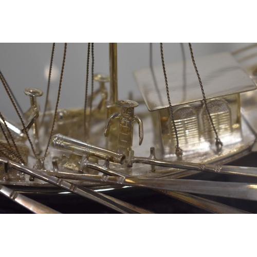542 - <strong>A Chinese silver model of a junk, </strong><em>by Wei Kei,</em> Hong Kong, stamped sterling ...