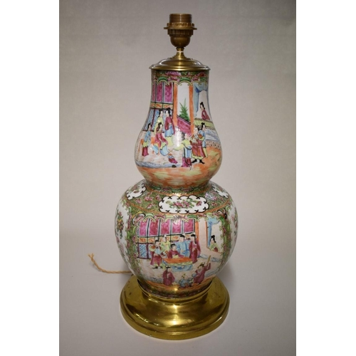 594 - <strong>A large Chinese Canton famille rose double gourd table lamp,</strong> <em>19th century,</em>...