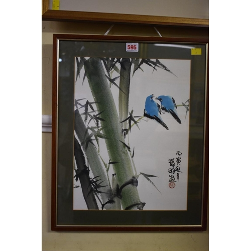 595 - <strong>Chinese School,</strong> a pair of exotic birds on a bamboo branch, signed, watercolour, 39 ...