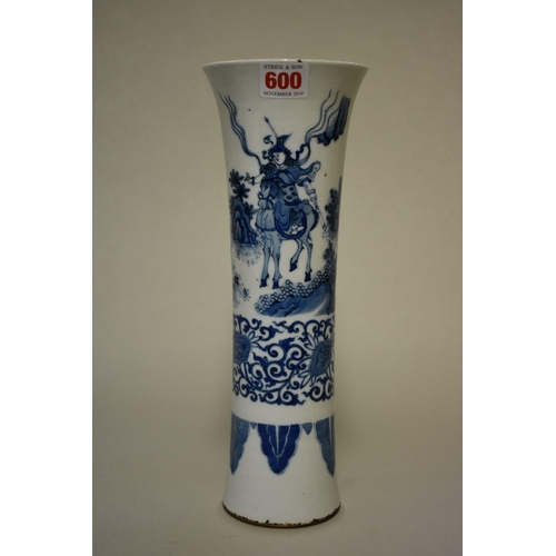 600 - <strong>A Chinese blue and white gu vase</strong>, painted with a continuous scene of figures in a l...