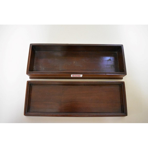 606 - <strong>A Chinese hardwood rectangular box and cover</strong>, the cover inscribed with lines of scr...