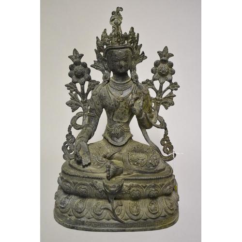609 - <strong>A large Sino-Tibetan bronze figure of Tara,</strong> probably <em>19th century,</em> 38cm hi...