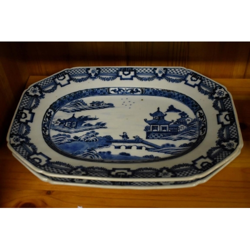 616 - <strong>A near pair of Chinese blue and white meat plates</strong>, <em>late 18th century</em>, 285c...