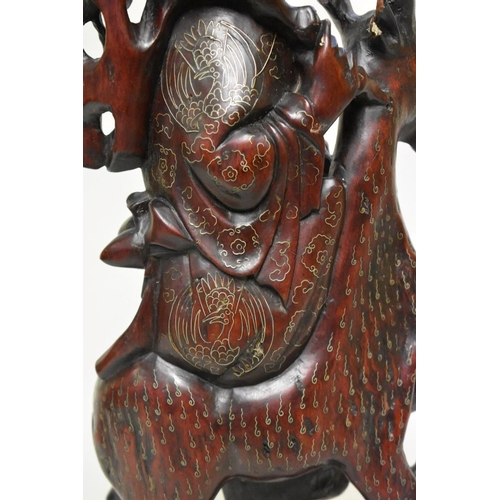 625 - <strong>A largeChinese carved wood and metal wire inlaid figure group of a man and deer,</stro...