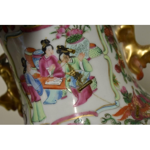 626 - <strong>A Chinese Canton famille rose twin handled vase,</strong> <em>19th century,</em> 34cm high, ...